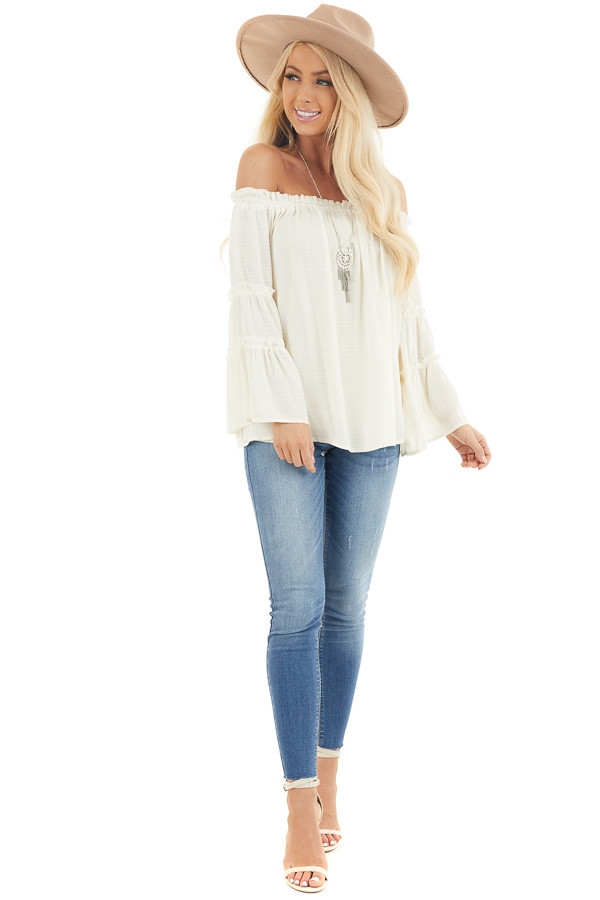 Ivory Off Shoulder Top with Tiered Bell Sleeves front full body