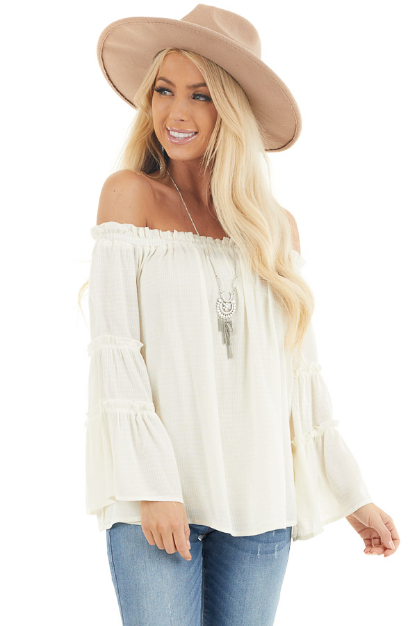 Ivory Off Shoulder Top with Tiered Bell Sleeves front close up
