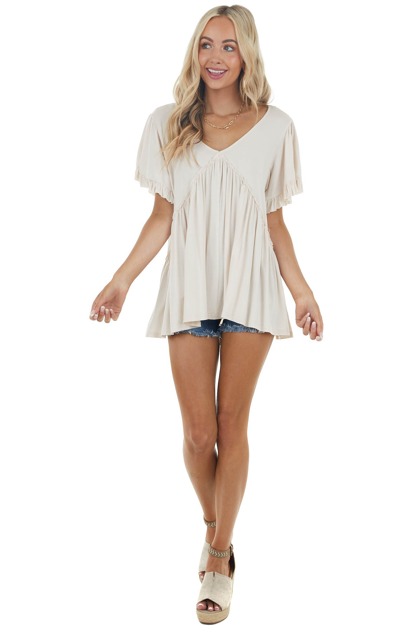 Champagne Jersey Knit Top with Short Ruffle Sleeves