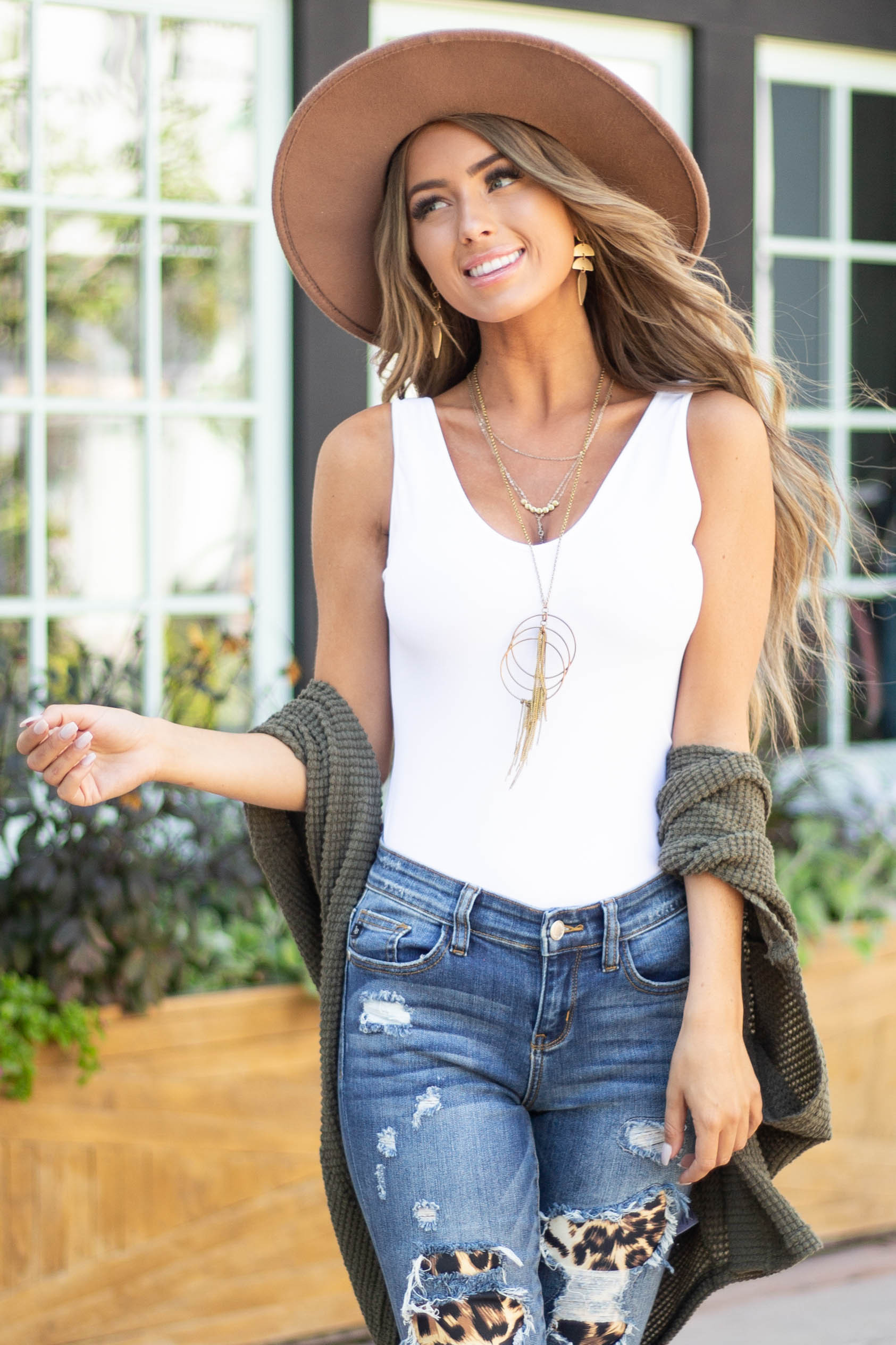 White Tank Top with Dual Neckline