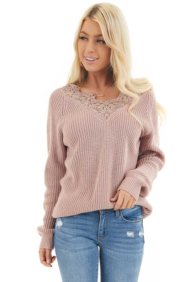 Dusty Blush Long Sleeve V Neck Knit Sweater with Lace Collar front close up