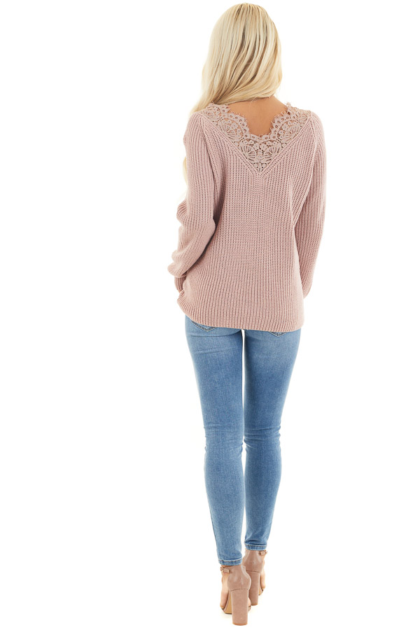 Dusty Blush Long Sleeve V Neck Knit Sweater with Lace Collar back full body