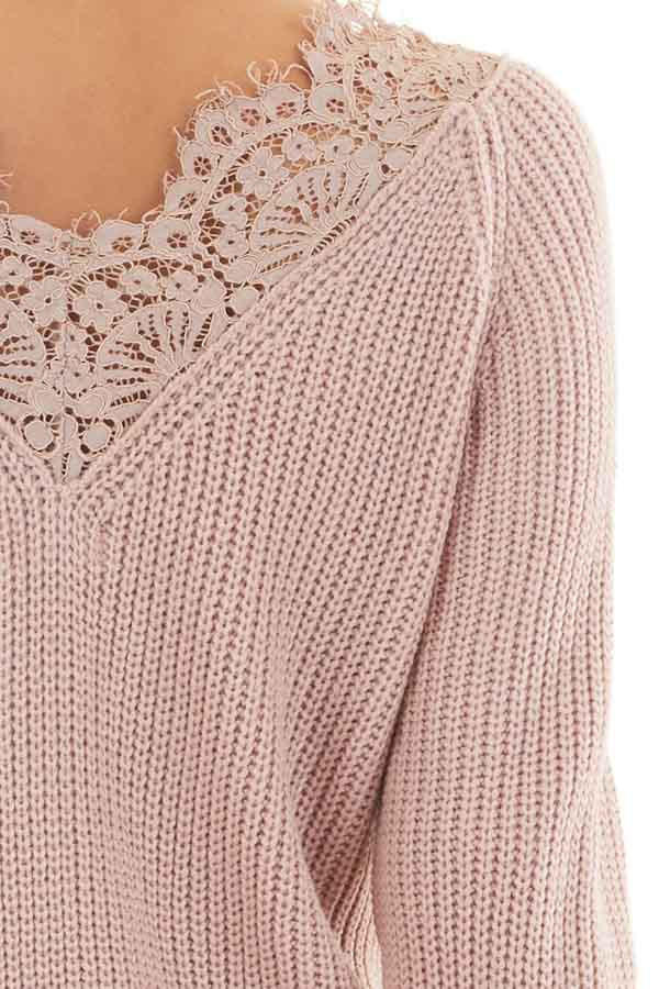 Dusty Blush Long Sleeve V Neck Knit Sweater with Lace Collar detail