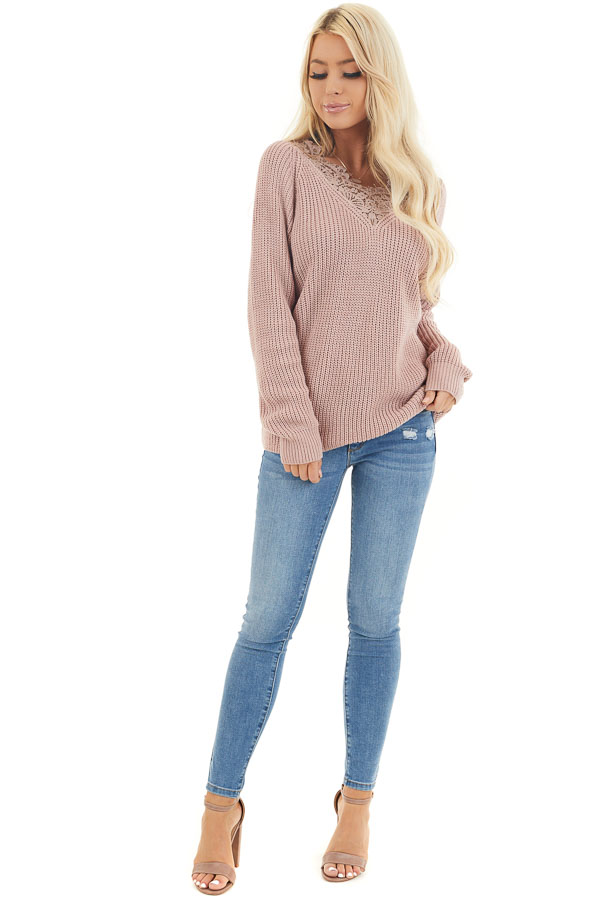 Dusty Blush Long Sleeve V Neck Knit Sweater with Lace Collar front full body