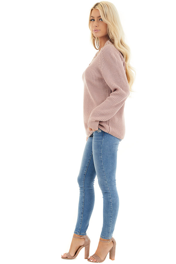 Dusty Blush Long Sleeve V Neck Knit Sweater with Lace Collar side full body