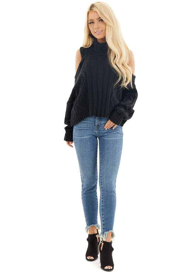 Black Cold Shoulder Long Sleeve Sweater with Turtleneck front full body