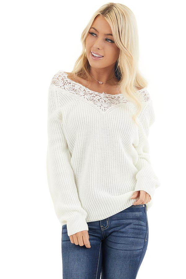 Off White Long Sleeve V Neck Knit Sweater with Lace Collar front close up