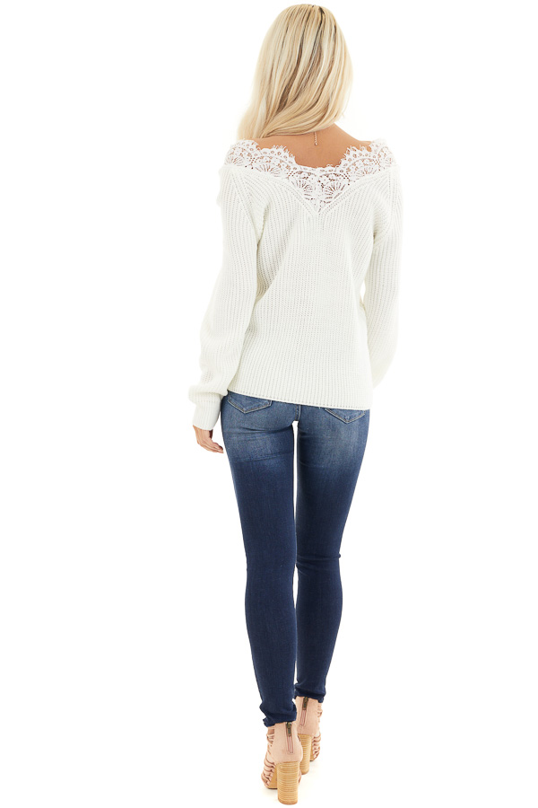 Off White Long Sleeve V Neck Knit Sweater with Lace Collar back full body