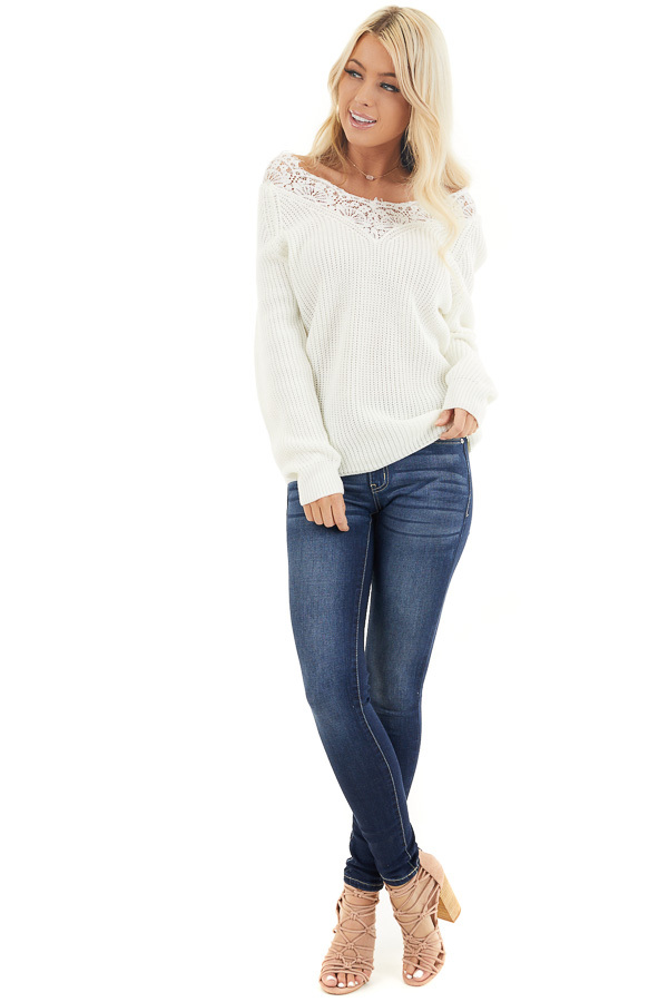 Off White Long Sleeve V Neck Knit Sweater with Lace Collar front full body