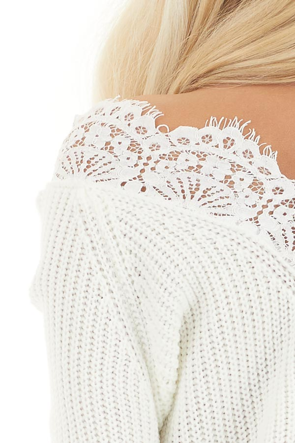 Off White Long Sleeve V Neck Knit Sweater with Lace Collar detail