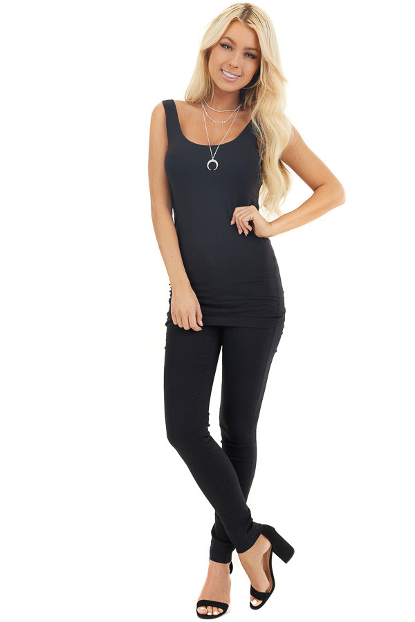 Black Tank Top with Dual Neckline front full body