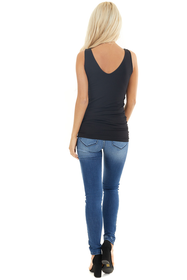 Black Tank Top with Dual Neckline back full body