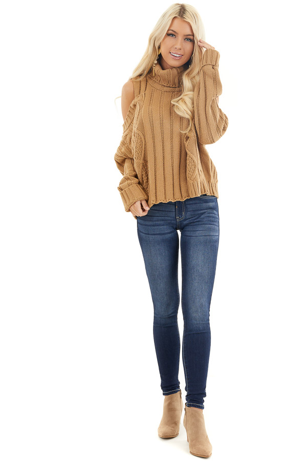 Camel Cold Shoulder Long Sleeve Sweater with Turtleneck front full body