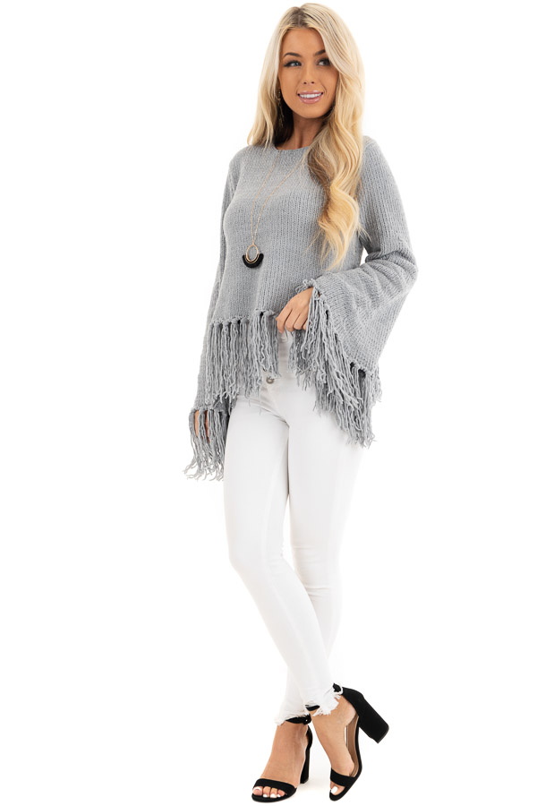 Slate Grey Bell Sleeve Chenille Sweater with Tassel Detail front full body
