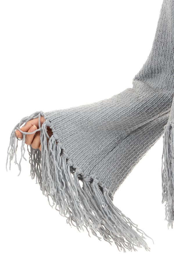 Slate Grey Bell Sleeve Chenille Sweater with Tassel Detail detail