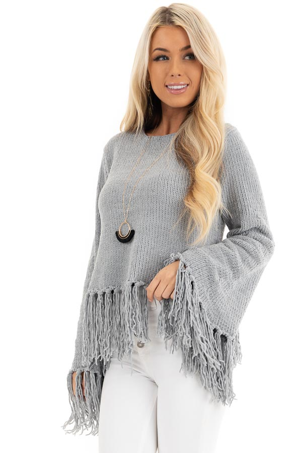 Slate Grey Bell Sleeve Chenille Sweater with Tassel Detail front close up