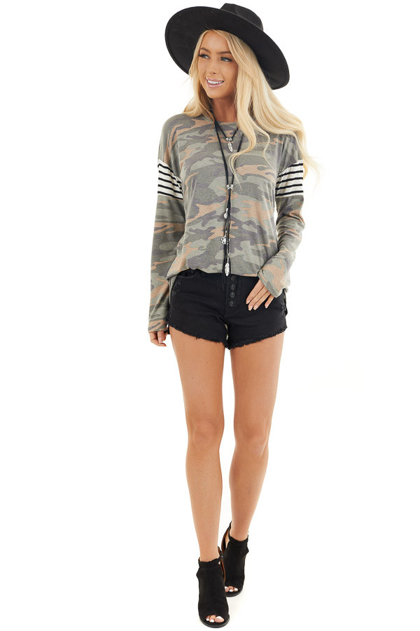 Faded Olive Camo Long Sleeve Knit Top with Striped Contrast front full body