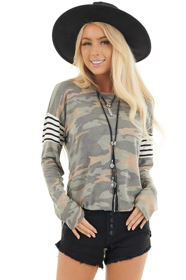 Faded Olive Camo Long Sleeve Knit Top with Striped Contrast front close up
