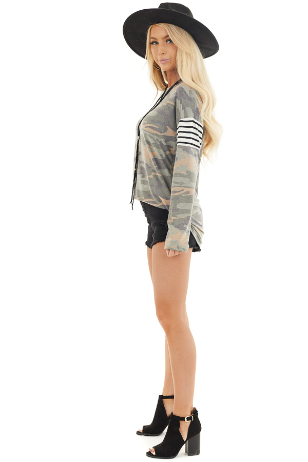 Faded Olive Camo Long Sleeve Knit Top with Striped Contrast side full body