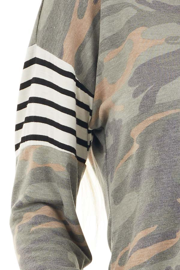 Faded Olive Camo Long Sleeve Knit Top with Striped Contrast detail