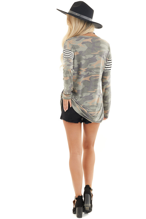 Faded Olive Camo Long Sleeve Knit Top with Striped Contrast back full body