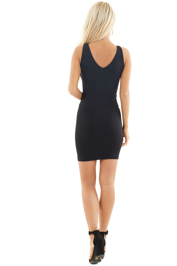 Black Tank Dress with Dual Neckline back full body