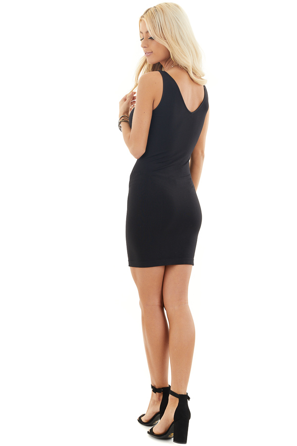 Black Tank Dress with Dual Neckline side full body