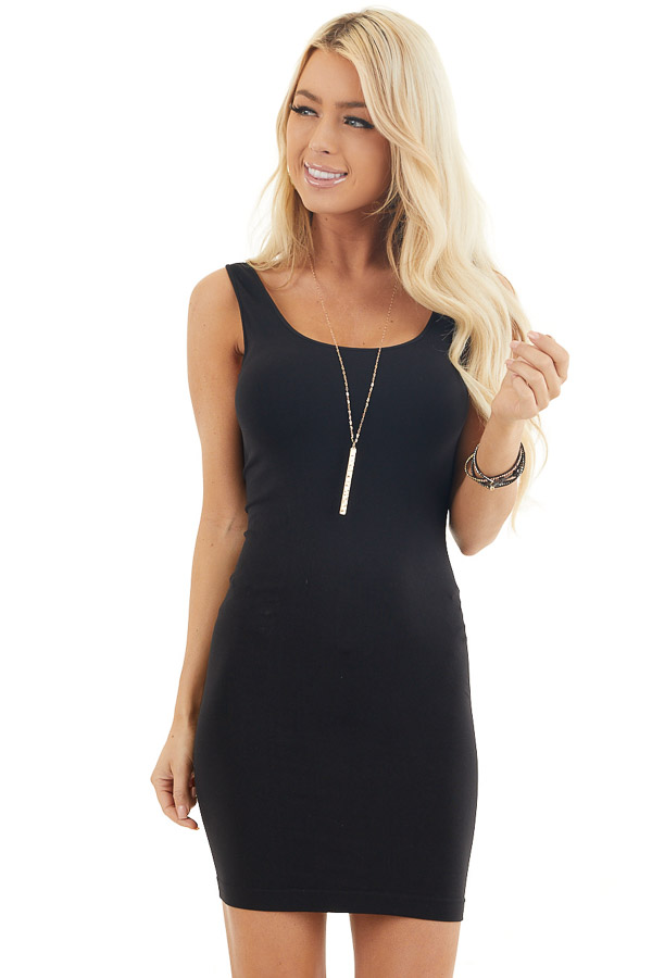 Black Tank Dress with Dual Neckline front close up