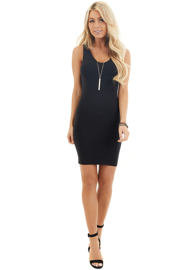 Black Tank Dress with Dual Neckline front full body
