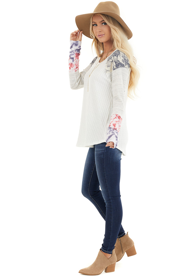 Eggshell Ribbed Knit Top with Long Multi Print Sleeves side full body