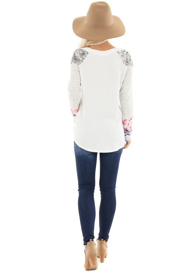Eggshell Ribbed Knit Top with Long Multi Print Sleeves back full body