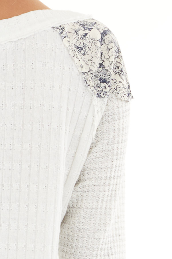 Eggshell Ribbed Knit Top with Long Multi Print Sleeves detail