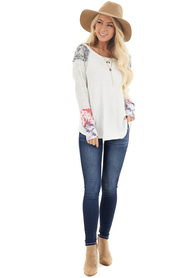 Eggshell Ribbed Knit Top with Long Multi Print Sleeves front full body