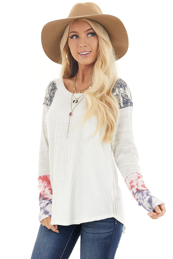 Eggshell Ribbed Knit Top with Long Multi Print Sleeves front close up
