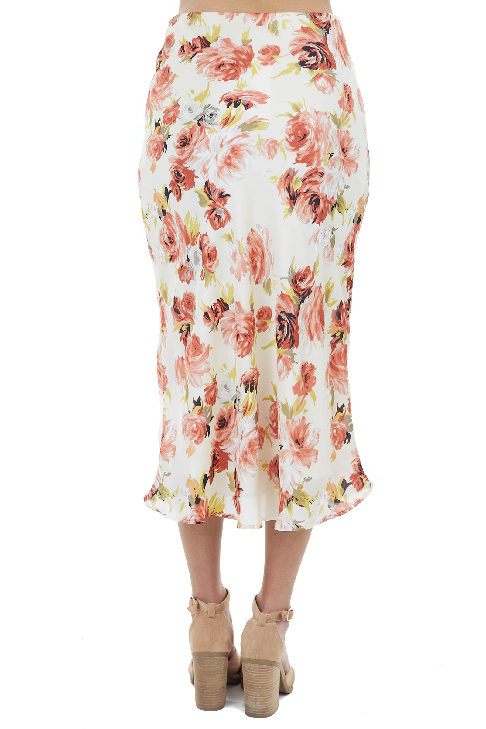 Champagne Floral Print Midi Skirt with Elastic Waistband