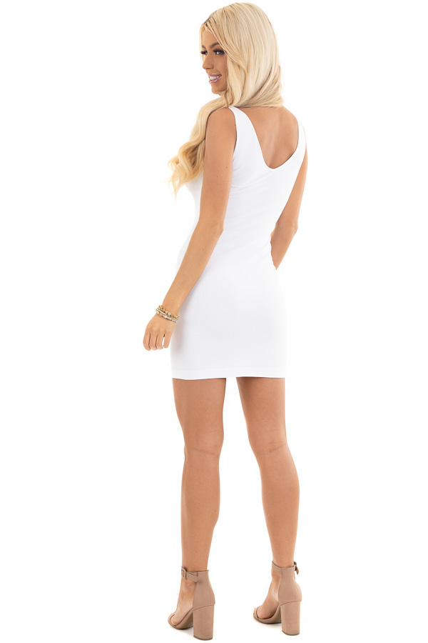 White Tank Dress with Dual Neckline side full body