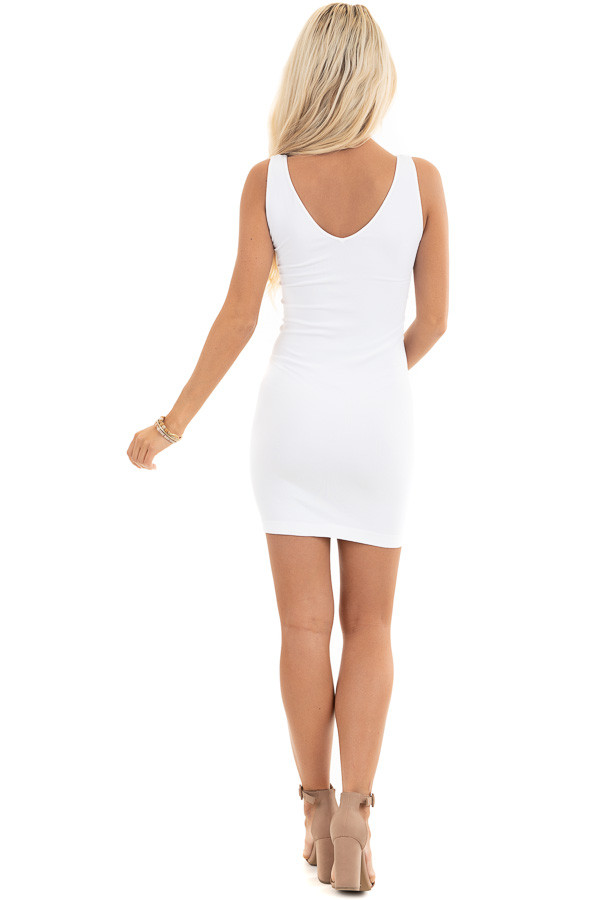 White Tank Dress with Dual Neckline back full body