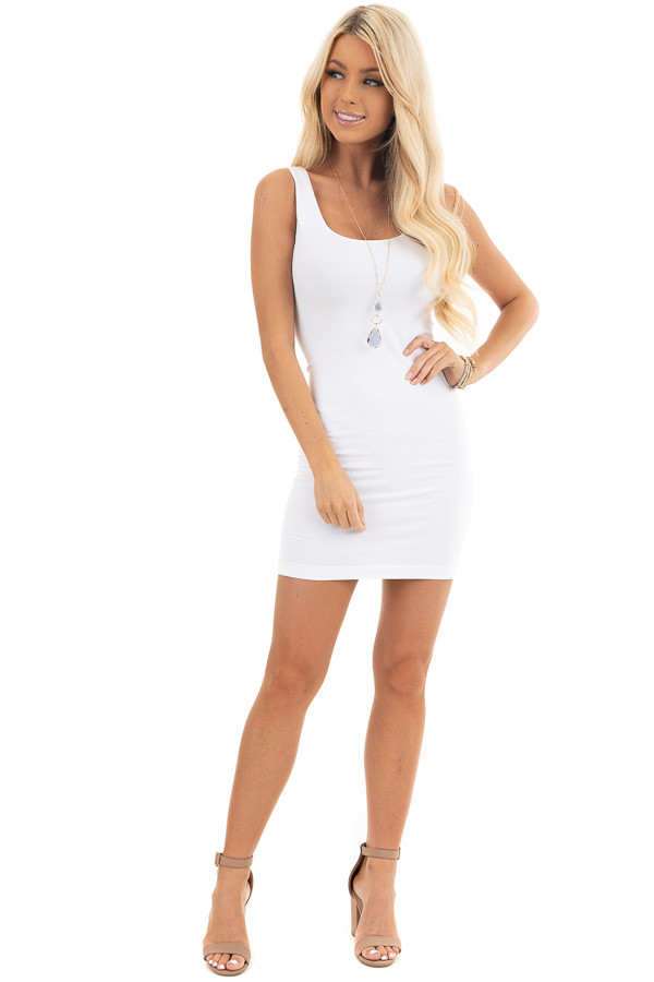 White Tank Dress with Dual Neckline front full body
