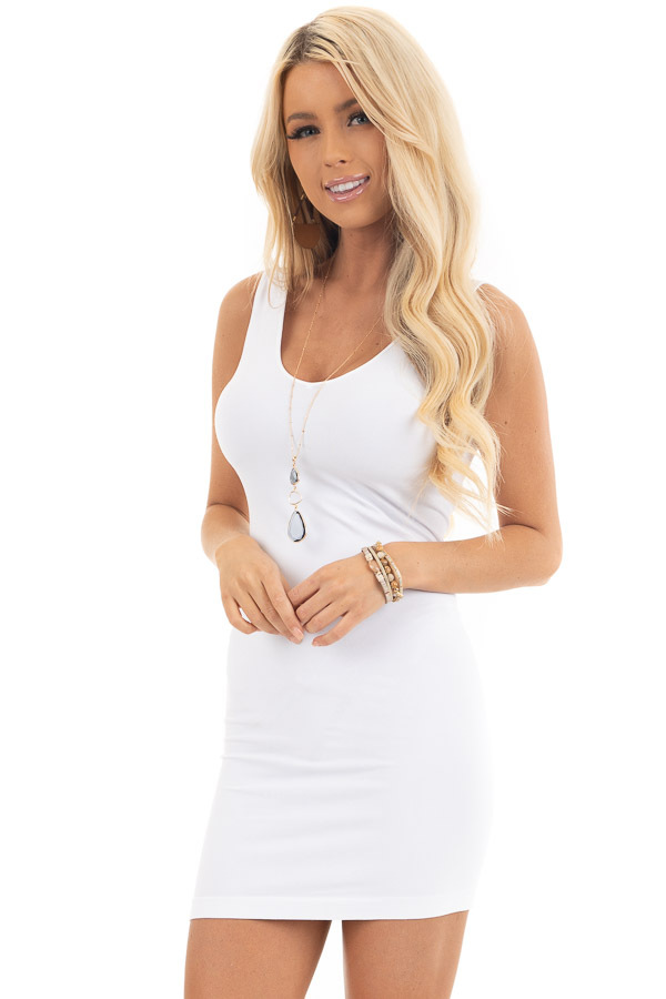 White Tank Dress with Dual Neckline front close up