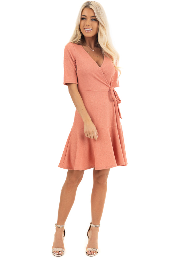 Coral Pink Surplice Style Short Dress with Side Tie Detail front full body