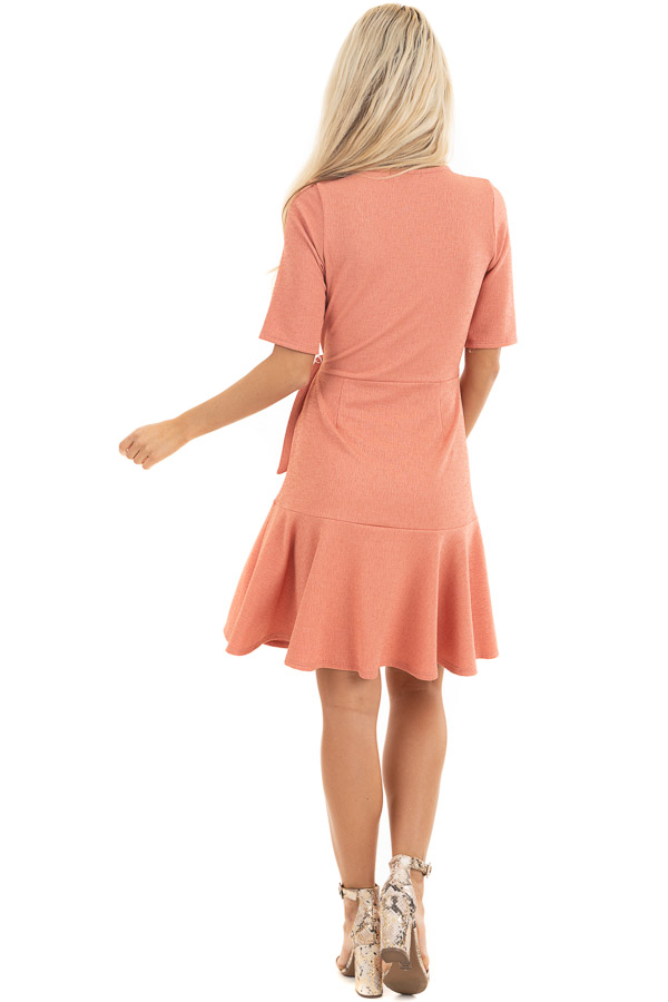 Coral Pink Surplice Style Short Dress with Side Tie Detail back full body