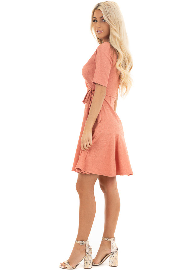 Coral Pink Surplice Style Short Dress with Side Tie Detail side full body