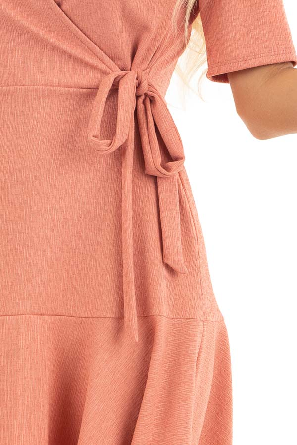 Coral Pink Surplice Style Short Dress with Side Tie Detail detail