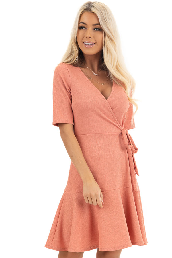 Coral Pink Surplice Style Short Dress with Side Tie Detail front close up