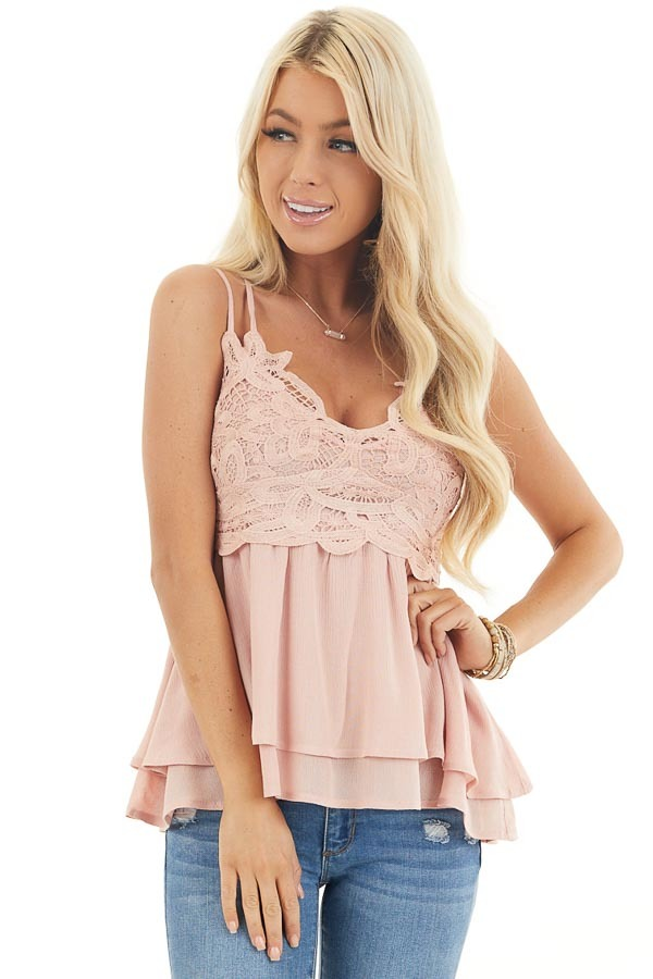 Rich Blush Camisole Top with Smocked Back and Lace Details front close up