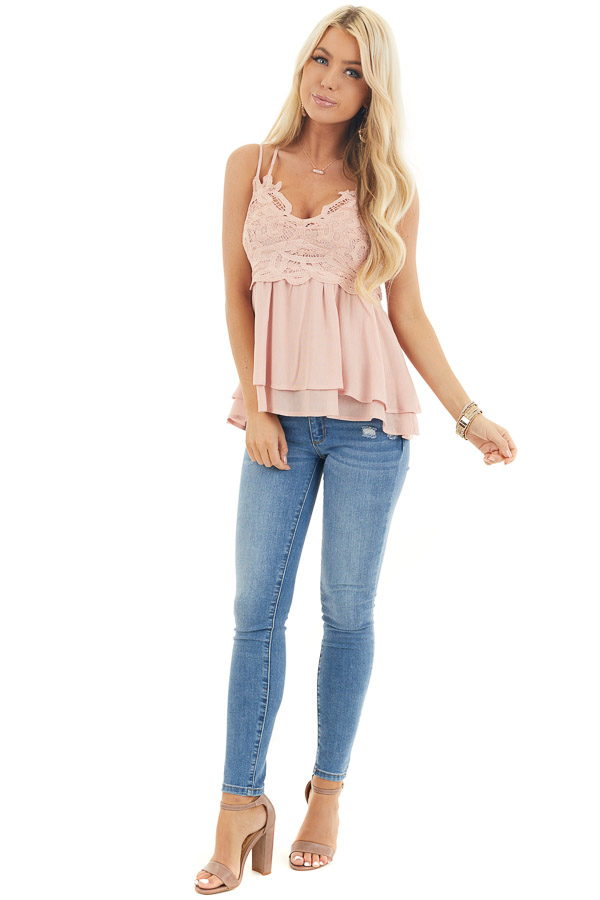Rich Blush Camisole Top with Smocked Back and Lace Details front full body