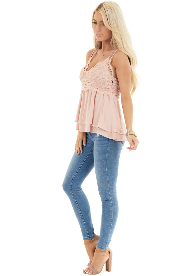 Rich Blush Camisole Top with Smocked Back and Lace Details side full body