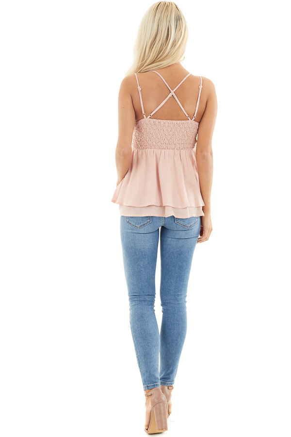 Rich Blush Camisole Top with Smocked Back and Lace Details back full body