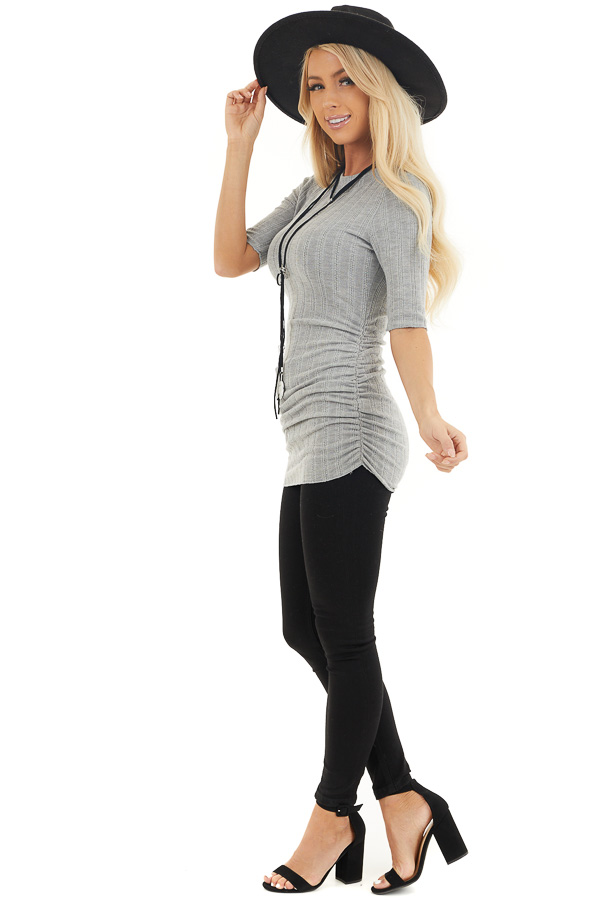 Heather Grey Knit Top with High Neckline and Side Ruching side full body