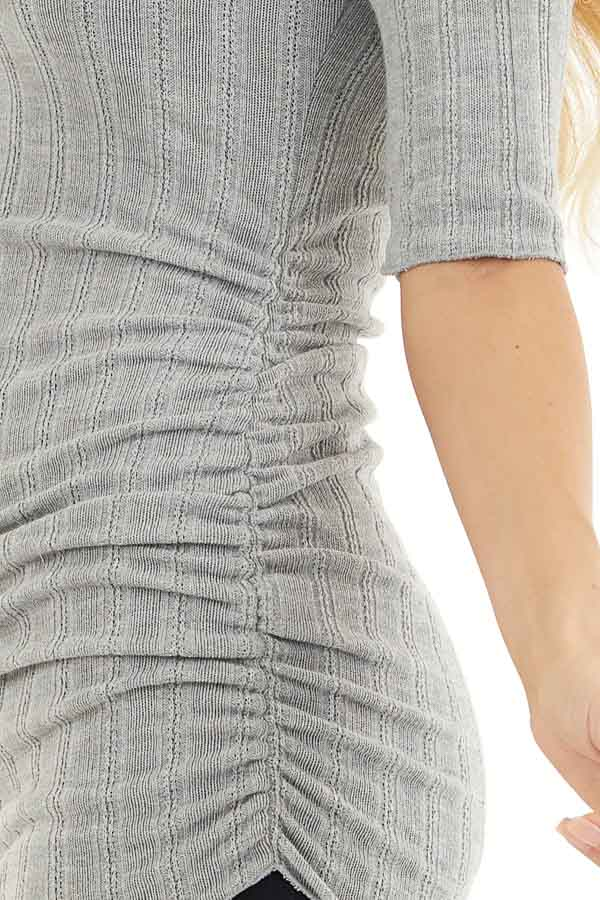 Heather Grey Knit Top with High Neckline and Side Ruching detail